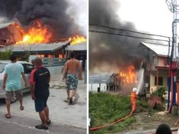 Keadaan salah sebuah rumah mangsa yang sedang terbakar dijilat api di Bagan Seberang, Kuala Kurau semalam.