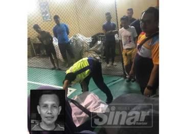 Semasa kejadian di gelanggang futsal tersebut. Gambar kecil: Mohd Ezani