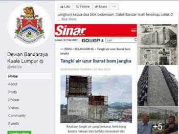 Kenyataan dimuatnaik DBKL di Facebook berkenaan isu tangki air uzur di Pangsapuri Blok 1&3 Taman Bukit Cheras,di sini