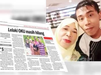 Keratan siaran Sinar Harian pada 6 Mei lalu mengenai kehilangan Amirul Izwan sejak 21 April lalu dan gambar Amirul Izwan (kanan) bersama ibunya yang sehingga kini masih hilang.