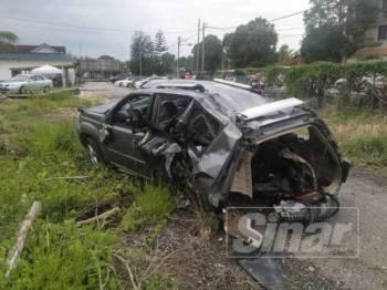 Keadaan kenderaan SUV jenis Nissan X-Trail yang terbabit kemalangan dan disita polis untuk siasatan lanjut.