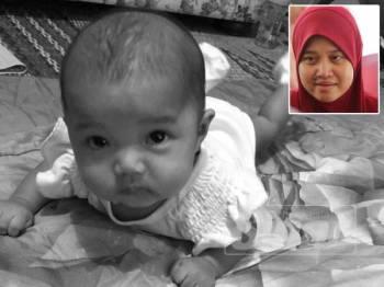 Dayangku NurAlya Mariyam, empat bulan maut dipercayai lemas ketika meniarap semasa tidur di sebuah taska di daerah Kuala Terengganu hari ini.