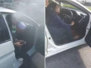 Paparan skrin video insiden tarik kereta yang tular di media sosial, semalam.