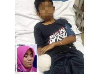 Syafiq Haiqal, 13, menerima rawatan di HSNZ, di sini selepas parah di bahagian pergelangan tangan. Gambar kecil: Zainab