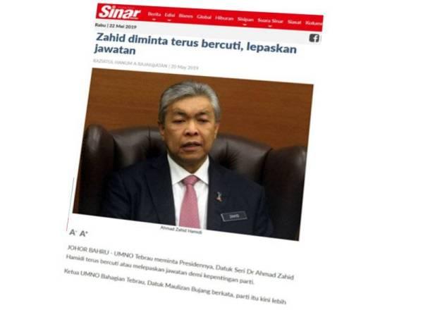 Laporan Sinar Harian pada 20 Mei lalu.