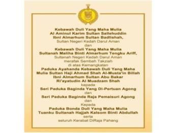 Kenyataan yang dikeluarkan Pejabat Tuanku Sultan Kedah.