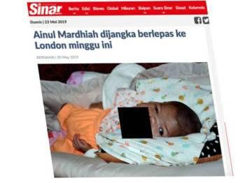 Kisah Ainul Mardhiah yang pernah dilaporkan dalam Sinar Harian Edisi Selatan pada 20 Mei lalu.