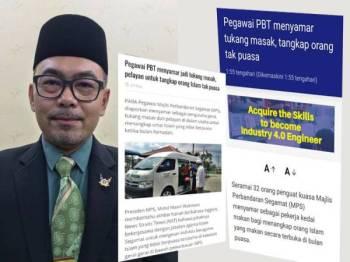 Mohd Masni. Gambar kanan: Petikan akhbar yang dikongsi beberapa portal di internet kini tular.