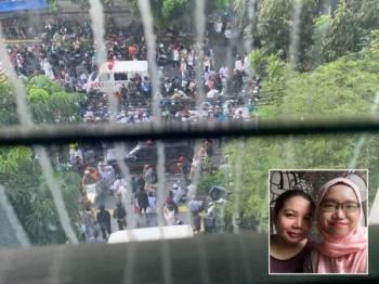 Gambar penunjuk perasaan yang dirakam Nur Amira ketika berada di dalam lif hotel. (Gambar kecil: Nur Amira (kanan) bersama ibu saudaranya Haslinda.)