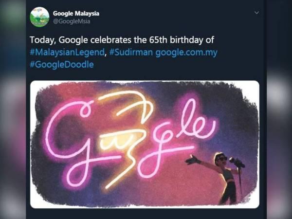 Google abadikan doodle Allahyarham Datuk Sudirman Arshad sempena sambutan ulang tahun kelahiran ke - 65, hari ini.