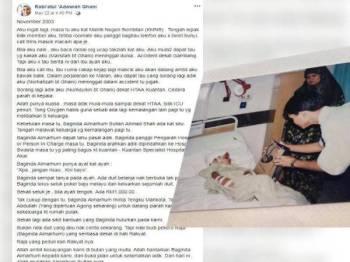 Paparan Facebook Rabi'atul Adawiah Ghani.