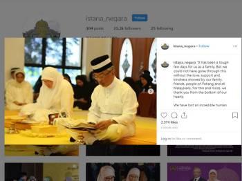 Hantaran akaun Instagram Istana Negara hari ini.