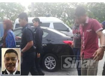 Pasangan suami isteri tersebut tiba di pekarangan Mahkamah Majistret Yan pagi tadi. (Gambar kecil: Shahnaz)