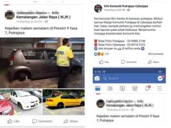 Antara tangkap layar yang turut dimuat naik melalui laman Facebook tersebut. ( Kanan: Kemaskini status yang dimuat naik melalui laman Facebook berkenaan.)
