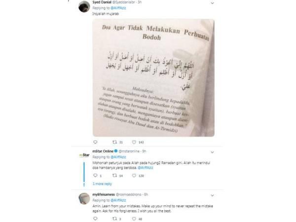 Antara paparan ciapan Twitter Aliff Aziz