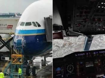 Keadaan cermin hadapan pesawat itu yang retak seribu selain muncung pesawat turut alami kerosakan.