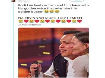 Kodi mendapat 'golden buzzer' dari keempat juri program America's Got Talent.
