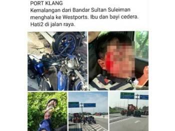 Seorang kanak-kanak lelaki cedera selepas tercampak di atas jalan dalam kemalangan membabitkan sebuah motosikal dan lori kontena tanpa muatan di Jalan Parang (arah dari Pelabuhan Utara ke Pelabuhan Barat), pagi tadi. -Foto: Facebook