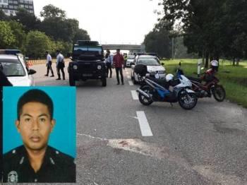 Lokasi di mana Mohd Ishraf dirempuh penunggang motosikal tersebut. (Gambar kecil: Anggota polis yang meninggal dunia dalam kemalangan berkenaan.)