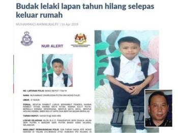 Polis memberkas seorang lelaki yang cuba memeras ugut bapa kepada Muhammad Zahiruddin Putra Mohd Fauzi,8, kanak-kanak yang dilaporkan hilang sejak 15 April lalu. Gambar kecill: Ahmad Dzaffir