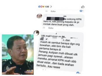 Mesej yang tular di media sosial berkaitan ada unit dalam PDRM yang melakukan kutipan dana untuk pembiayaan kos jamuan hari raya Syawal nanti. (Gambar kecil: Abdul Hamid Bador)