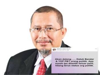 Iskandar Abdul Samad. Gambar kecil:Status sindiran Iskandar dipercayai merujuk kepada pelantikan Ketua Pesuruhjaya SPRM yang baharu