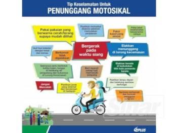 Tip keselamatan untuk penunggang motosikal.