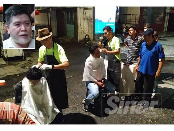 Golongan gelandangan menerima perkhidmatan gunting rambut secara percuma. (Gambar kecil: Mohd Azizan)