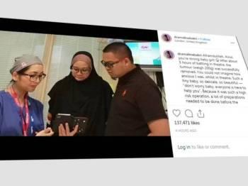 Hantaran di laman Instagram Dr Amalina bersama ibu bapa Ainul sebaik selesai pembedahan di sebuah hospital kanak-kanak di London.