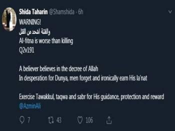 Paparan Twitter milik Shamsidar Taharin