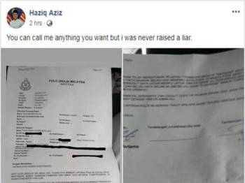 Paparan skrin hantaran Haziq di laman sosial Facebook miliknya.