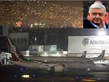 Harga jualan pesawat itu dianggarkan bernilai RM624 juta. Gambar kecil, Lopez Obrador.