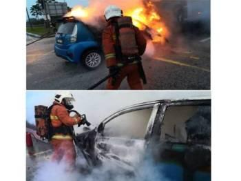 Anggota bomba memadamkan kebakaran kereta yang terlibat dengan kemalangan pagi tadi.