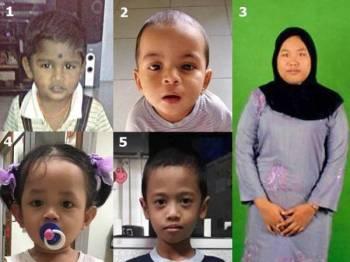 (ikut turutan nombor) Divinesh, 5, Kanak-kanak lelaki India berusia 9 bulan, Nurshima SP Hidayanti, 12, Aqila Misha Shafana Saweli, 1 & Andes, 6