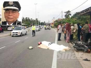 Ab Salam @ Azri maut selepas motosikal ditunggang terbabas lalu bergesel dengan sebuah kereta di Kampung Pasir Hor hari ini.