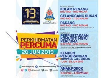 Pelbagai perkhidmatan percuma disediakan buat orang ramai sempena sambutan Ulang Tahun ke-13 Bandaraya Petaling Jaya.