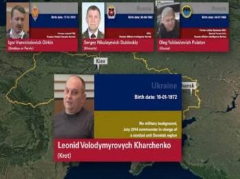 Foto empat perancang utama insiden Malaysia Airlines MH17 yang ditembak jatuh di timur Ukraine pada tahun 2014dikenal pasti. - Foto Twitter / Aric Toller