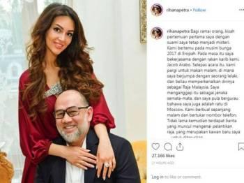 Oksana menceritakan pertemuan pertama dengan suaminya, Sultan Muhammad V di laman Instagram miliknya.