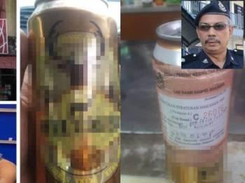 Satu tin minuman alkohol telah rampas dari sebuah kedai. (Gambar kecil, Aidi Sham Mohammed).