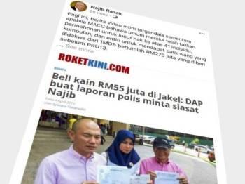 Hantaran Najib di laman sosial Facebooknya mengenai perlucutan hak ke atas 41 responden tersebut.