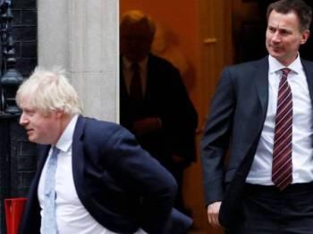 Setiausaha Luar Britain, Jeremy Hunt (kanan) dan Boris Johnson muncul sebagai dua calon akhir bagi menggantikan Theresa May.