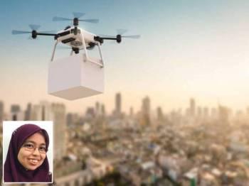 Penghantaran makanan menggunakan dron menunjukkan usahawan tempatan berfikiran di luar kotak. Gambar kecil: Azlina