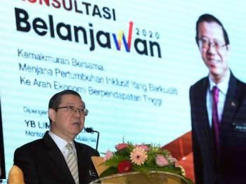 Menteri Kewangan Lim Guan Eng ketika berucap pada Majlis Konsultasi Belanjawan 2020 di kementeriannya hari ini. Foto: Bernama