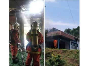 Anggota BBP Kota Tinggi ketika memadamkan kebakaran rumah di Jalan Melor Felda Air Tawar 2, kelmarin. Gambar kanan: Gambar dirakam penduduk ketika api mula membakar kediaman tersebut kelmarin.