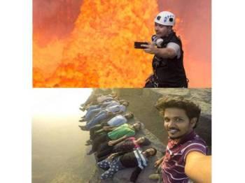 Gambar atas, jurugambar Nik Haliks tidak menghiraukan keselamatannya ketika mengambil swafoto berlatarbelakangkan gunung berapi Benbow manakala gambar bawah, trend mengambil swafoto berbahaya semakin membimbangkan.