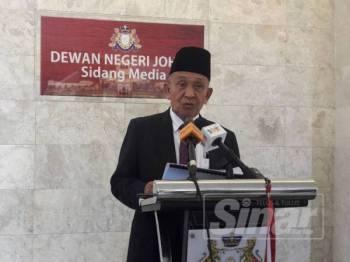Tosrin pada sidang media sempena persidangan Dewan Negeri Johor di Kota Iskandar hari ini.