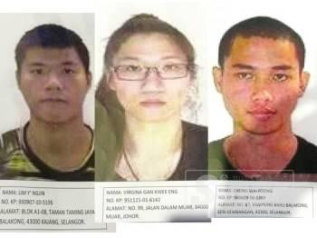 Tiga individu yang dicari polis bagi membantu siasatan membabitkan geng Ah Hau.