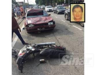 Keadaan motor dinaiki mangsa dan cucunya serta kereta yang dipandu lelaki berusia 25 tahun. (gambar kecil: Eng Fat)