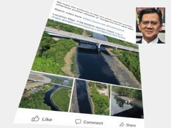 Gambar pencemaran Sungai Danga yang tular di media sosial.