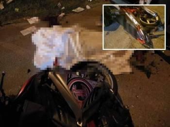 Mangsa maut di tempat kejadian selepas motosikal ditunggangnya melanggar belakang sebuah lori di sini. - Foto ihsan Angkatan Pertahanan Awam Malaysia Daerah Kuala Selangor